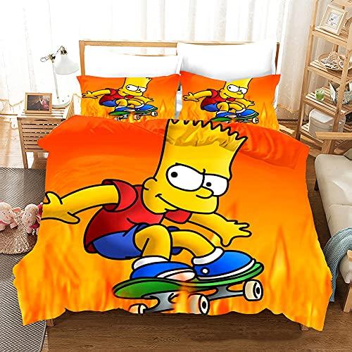 Set copripiumino King Size, copripiumino The Simpsons, in microfibra, morbido, confortevole e traspirante, facile da pulire, ipoallergenico, 1 copripiumino 220 x 230 + 2 federe 50 x 75 cm.