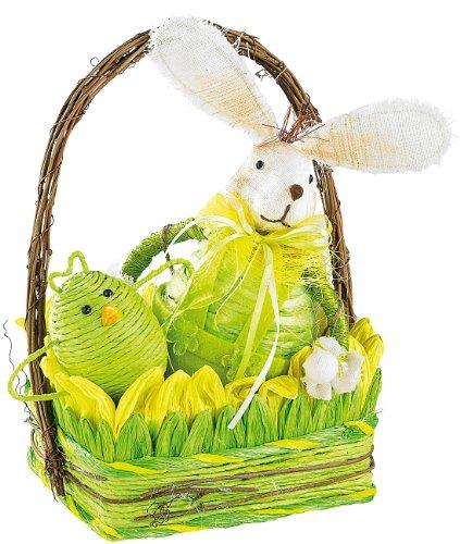 infactory Geschenk für Ostern: 5-teiliges Osterkörbchen mit Hase & 3 Hühnchen (Wohndeko für Ostern)