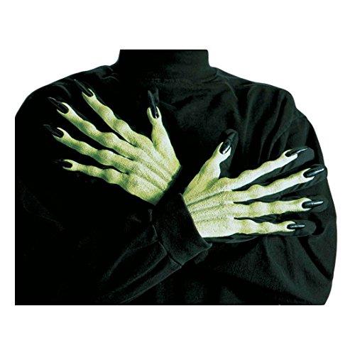 NET TOYS Gants de Sorcière 3D Gants pour Sorcière Verts Mains avec Longs Ongles Gants de Carnaval Zombie Vampire Mains Halloween Déguisement Accessoire