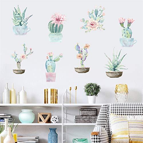 Adhesivo de pared 3D con diseño de plantas, cactus y suculentas, de vinilo extraíble, impermeable, para dormitorio, sala de estar, ventana, baño, cocina, techos, muebles, 45 x 60 cm