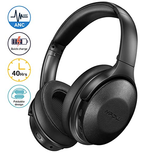 Mpow Active Noise Cancelling Headphones with Microphones, [2020 Version] Bluetooth Headphones Over Ear with 40H Playtime, Quick Charge, Soft Protein Earpads, Deep Bass, for TV Travel Cellphone PC