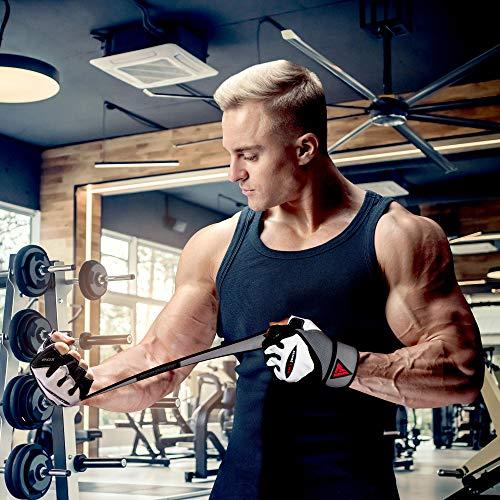 Authentische RDX Kuh haut leder Gewicht heben Gym Handschuhe Körper Fitness, Gr.M - 3