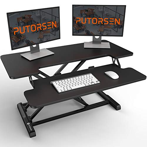 Standing Desk Converter with Height Adjustable – PUTORSEN 36 inch Spacious Stand Up Desk, Ergonomic Sit Stand Dual Monitor and Laptop Riser Tabletop Workstation, Large Keyboard Tray Black