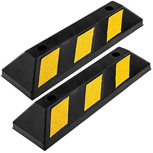 PrimeMatik - Tope de Suelo para Ruedas de Parking Aparcamiento de Goma 55 cm 2-Pack