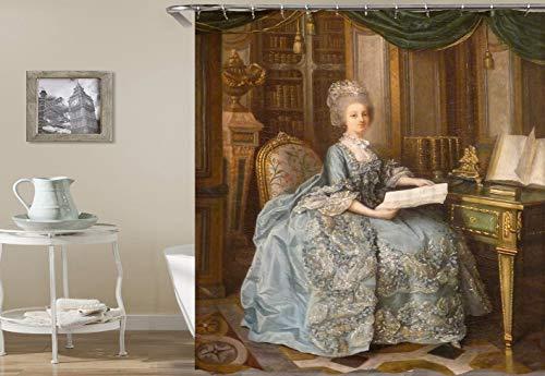 europäische Gerichts-Freifrau-Blaue Kleidungs-Blumen-Stühle und cherregal Hochwertiger, abriebfester, wasserdichter, schnell trocknender Duschvorhang für das Badezimmer