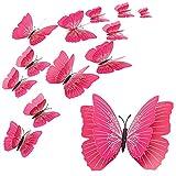 Adesivo murale farfalla 12 pezzi, farfalla magnetica 3D a due strati, adesivi murali farfalla simulazione per casa, cucina e giardino (Rosa)