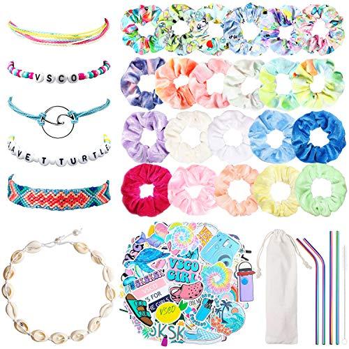 BeYumi 135Pcs VSCO Starter Stuff Pack - VSCO/Tie Dye/Velvet Hair Scrunchies, Flask Stickers, Shell Necklace Choker Bracelet, Friendship Bracelet, Wave String, Pony Beads Bracelets, Reusable Straws