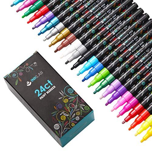 Rotuladores de Pintura Acrilica 24 Colores Rotuladores Acrílicos Permanentes Marcadores para Piedra Madera Tela Cerámica Metal, Punta Mediana