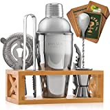 Cocktail Mixology Bartender Kit - Shaker Set Bar Tools With Wooden Stand for Memorable Drink Mixing Bar Kit Experiences, Bartending Kit Barware Set.