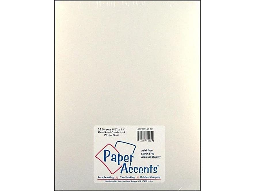 Accent Design Paper Accents PaperPearlized8511WhiteGold Paper Pearlized 8.5x11 80# White Gold