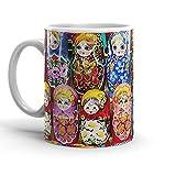 White Coffee Mug Ceramic Babushka Holidays...