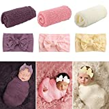 Newborn Baby Photography Props, 6 PCS Long Ripple Wraps with Headbands, Baby Photography Wrap Set for Baby Girl and Boy(White, Pink, Purple)