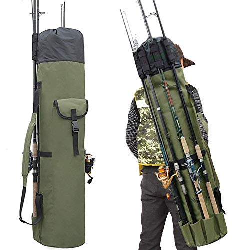 OWNERKULA Fishing Rod Bag, Waterproof Fishing Pole Case Bag with Durable Folding Oxford Fabric, Portable Fishing Rod Case Holds 5 Poles & Tackle