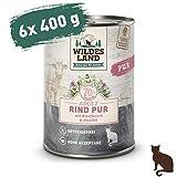 Wildes Land | Nassfutter für Katzen | Nr. 6 Rind PUR | 6 x 400 g | Getreidefrei & Hypoallergen | Extra viel Fleisch | Beste Akzeptanz und...