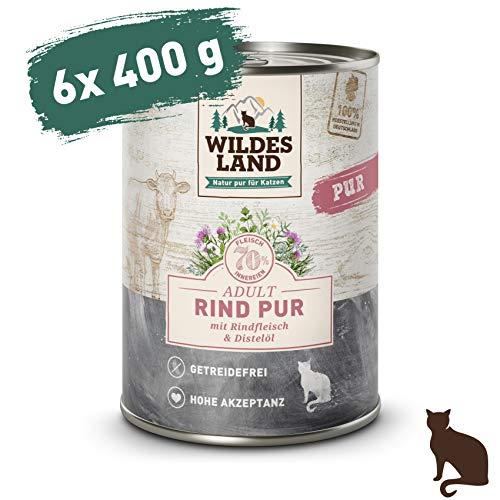Wildes Land | Nassfutter für Katzen | Nr. 6 Rind PUR | 6 x 400 g | Getreidefrei & Hypoallergen | Extra viel Fleisch | Beste Akzeptanz und Verträglichkeit