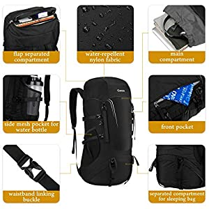 Gonex 45L Packable Travel Backpack, Lightweight Dackpack for Hiking, Camping & Travelling Black
