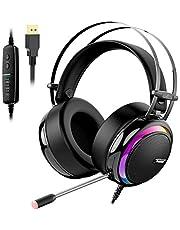 Tronsmart Auriculares Gaming Sonido Envolvente 7.1-Drivers de Transductores 50mm-Profesional con Micrófono Diadema Cancelación de Ruido Glary Cascos Gaming, Función Mute y Luces LED,PC&PS4 gamer