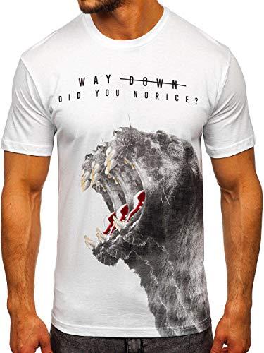 BOLF Hombre Camiseta de Manga Corta Estampado Impresión Escote Redondo T-Shirt Liso Camiseta de Algodón Print Crew Neck Logo Deporte Entrenamiento Estilo Urbano 181519 Blanco XL [3C3]