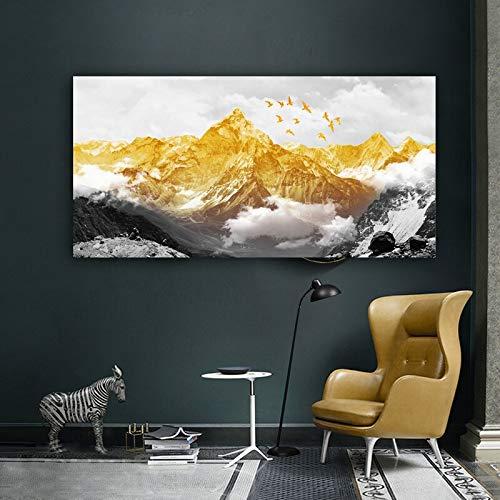 Groot formaat gouden sneeuw berg abstract canvas schilderijen print poster olieverfschilderij voor de woonkamer modern huis60x120cm no frame