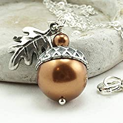 Acorn Necklace with Oak Leaf with Sterling Silver Chain