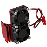 Mxfans N10108 Red Aluminum Alloy Plastic Motor heatsink with 2 Fans for RC 1:10 Car 540 550 Motor Heat Sink
