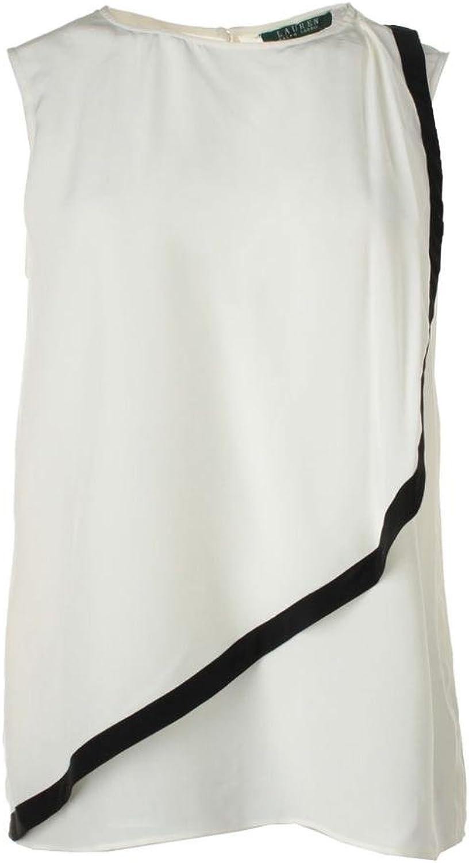 Ralph Lauren RuffleOverlay Silk Tank Top (Pearl, 2)