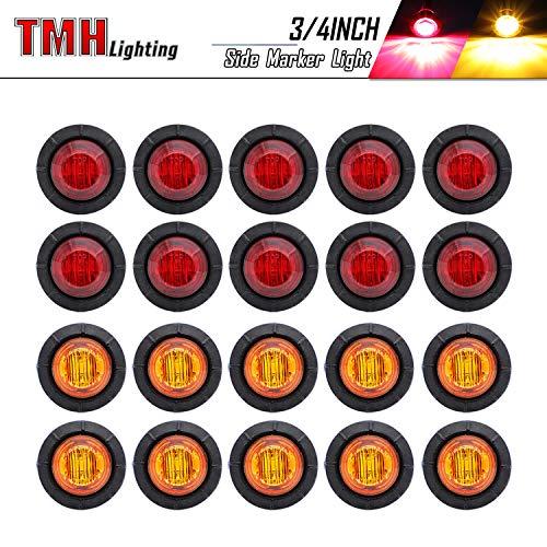 20 Pcs TMH 3/4 Inch Mount 10 pcs Amber & 10 pcs RED LED Clearance Markers Bullet Marker lights, side marker lights, led marker lights, led side marker lights, led trailer marker lights
