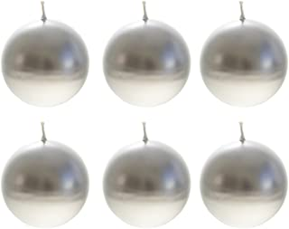 """Mega Candles 6 pcs Unscented Silver Ball Candle   Hand Poured Premium Wax Candles 3"""" Diameter   For Home Décor, Wedding..."""