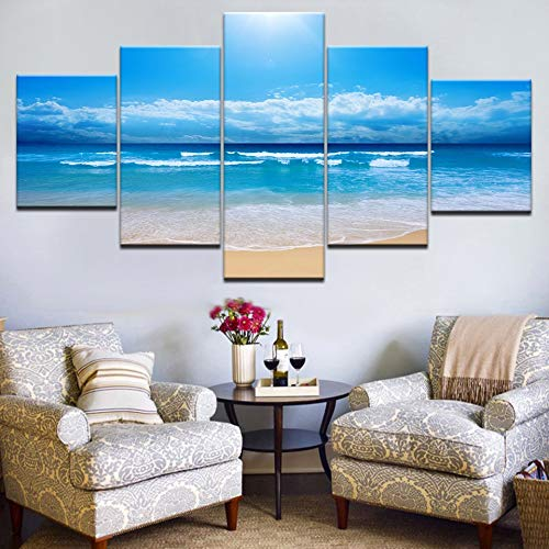 GVC 30X40X60X80 Modular Canvas Painting Wall Art 5 Pieces Beach Surf Blue Sky Sea Pictures Living Room HD Print Seascape Poster Home Decor Frame