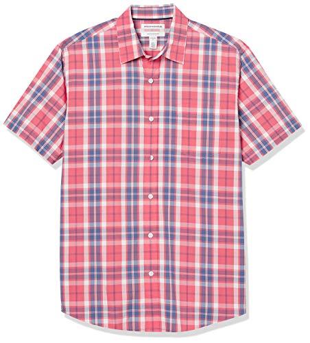 Amazon Essentials Regular-Fit Short-Sleeve Shirt Camisa, Cristal de Ventana Rojo Lavado, M