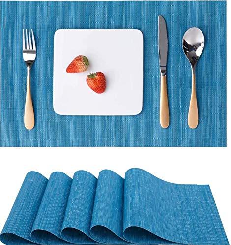 HYLX Tapete de Mesa antiincrustante Aislado, Mantel Individual de 6 Piezas, Tela Tejida de Vinilo Antideslizante Lavable para Cocina de 18 x 12 Pulgadas (Azul)