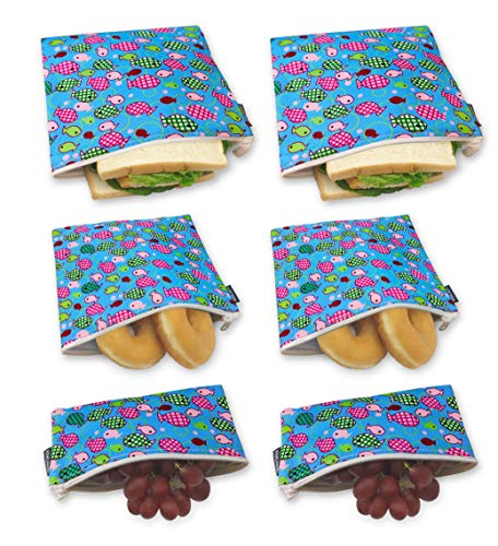 6 Pack  Reusable Sandwich Bags Snack Bags Dishwasher Safe Lunch Bags with Zipper Eco Friendly Food Wraps For Kids School Lunches Colorful Fish