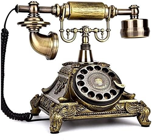 Teléfono anticuado Teléfono Inicio Oficina Decoración Decoración Rotaria Resina Dial Teléfono Retro Antiguo Moda Teléfonos fijos con Classic Metal Bell para Home Office Decoración de hotel Decoración