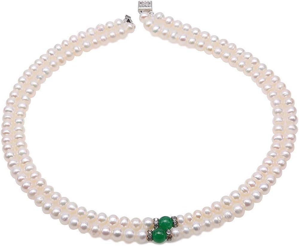 JYX JEWELRY Pearl Necklace Bracelet Set Elegant Double Strands White Pearl Necklace Bracelet dotted Aventurine Jade