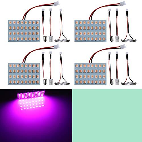 LivTee Led Panel Lights with 194 168 2825 T10 W5W / DE3175 6428 / BA9S 64111/6418 DE3423 DE3425 / 211-2 569 578 Festoon Adapters Replacement for Car Interior Map Dome Reading Trunk Lights, Purper