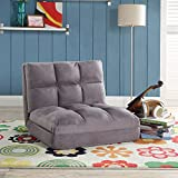 Loungie Micro-Suede 5-Position Adjustable Convertible Flip Chair, Sleeper Dorm Bed Couch Lounger Sofa, Grey
