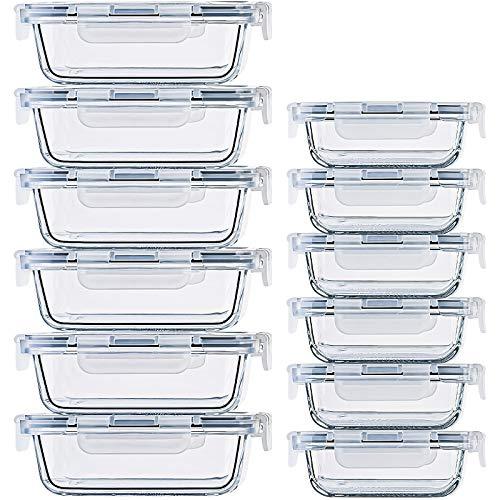 Frischhaltedosen aus Glas, luftdichter Deckel, mikrowellen-, ofen-, gefrier- und spülmaschinenfest, klein und groß, wiederverwendbar, rechteckig, 24 Stück