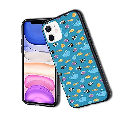 Funda protectora híbrida a prueba de golpes, diseño de animales tropicales con ballena y peces manchados con dibujos animados océano, adecuado para iPhone 11Pro Max
