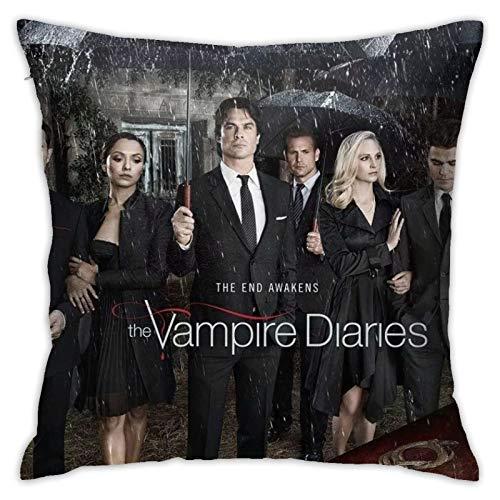 The-Vampire-Diaries Fundas de cojín de poliéster suave con cremallera decorativa funda de almohada para dormitorio, sofá, jardín, 45,7 x 45,7 cm