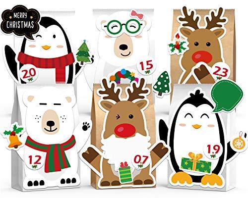 RainRose DIY Adventskalender zum Befüllen Eisbär Rentier Pinguin, 24 Wiederverwendbar Papiertüten - mit Stickern zum Individuellen Gestalten und Selber Basteln, Bastelset, Weihnachten 2020 für Kinder