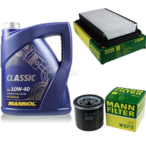 Filter Set Inspektionspaket 5 Liter MANNOL Motoröl Classic 10W-40 API SN/SM/CF MANN-FILTER Luftfilter Ölfilter