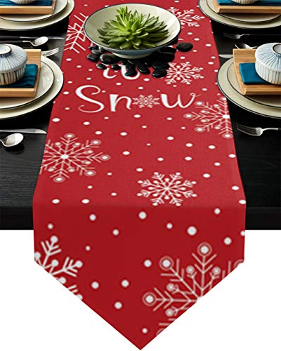 SODIKA Table Runner Christmas Let it Snow,Red and White 13 x 90 Inch for Morden Stylish Dinner Parties Holiday Wedding Table Setting Decor
