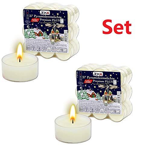 JEKA 2 x 27er Set Premium-Teelichter mit Transparenter Tülle, für Pyramiden