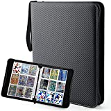 Baseball Trading Cards Album Binder with Sleeves for 720 Cards, Cards Protector Binder Holder, Card Binder 9 Pocket with Zipper Sleeves Fit for Baseball Cards, Pokemo YuGiOh Cards, Waterproof, Black