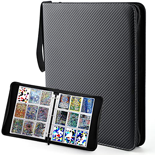 Baseball Card Binder, Trading Card Album Binder with Sleeves for 720 Cards, Waterproof Zipper Leather Sports Trading Cards Folder Compatible with Poken YuGiOh Cards, Black