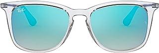 Ray-Ban Junior lunettes de soleil carrées en trou de serrure en miroir dégradé bleu transparent RJ9063S 7029B7 48