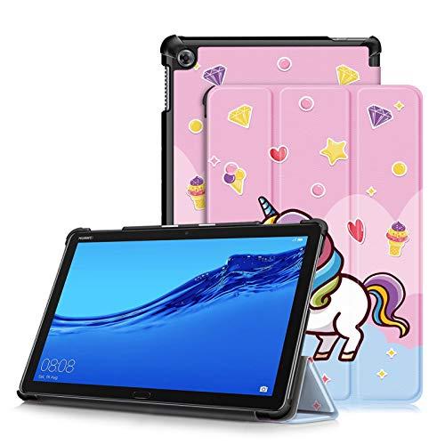 TOPCASE Funda Compatible con Huawei MediaPad M5 Lite 10 Pulgadas 2018,Ultra Delgado Carcasa con Soporte Función y Automática de Reposo/Vigilia,Unicorno
