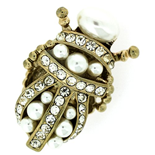 PYNK Jewellery Brooches Store Gold Crystal & Pearl Insect Scarab Beetle Brooch