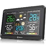 Geevon Estación meteorológica inalámbrica Termómetro para interiores y exteriores Higrómetro digital con nivel...