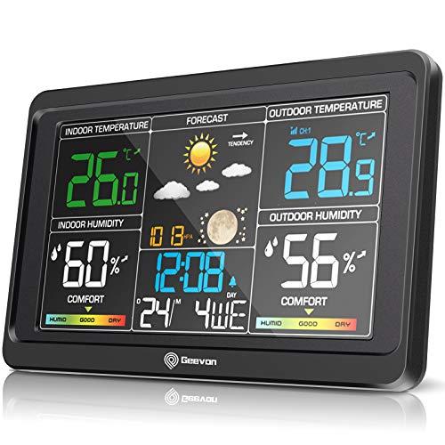 Geevon Wetterstation Funk mit Außensensor, Innen- und Außentemperatur mit Wettervorhersage, Digitaler Farbdisplay Thermometer Hygrometer, Wecker mit Snooze, Uhrzeitanzeige und Barometer (Schwarz)